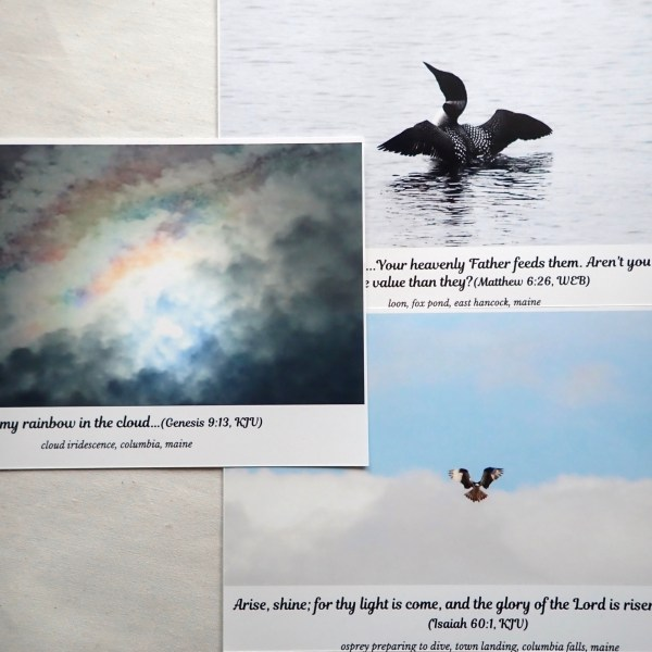 A collection of fine-art prints featuring a loon, an osprey, and a cloud rainbow, paired with Bible verses, at RivenJoiner.com.