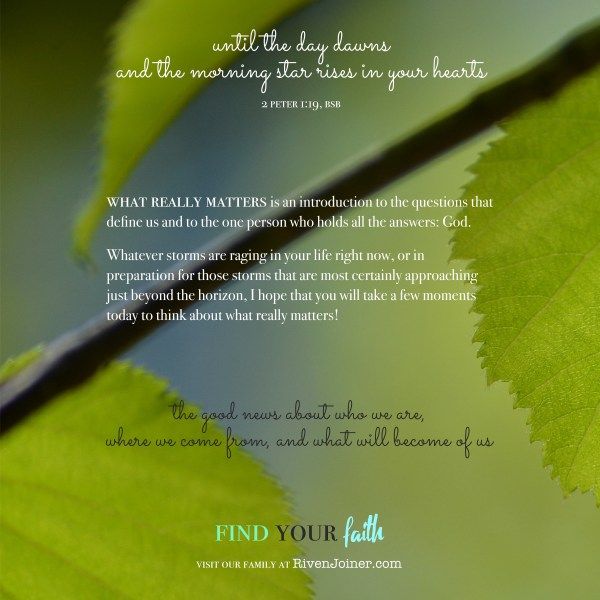This photo shows the front cover of the faith-and-outreach book What Really Matters at RivenJoiner.com.