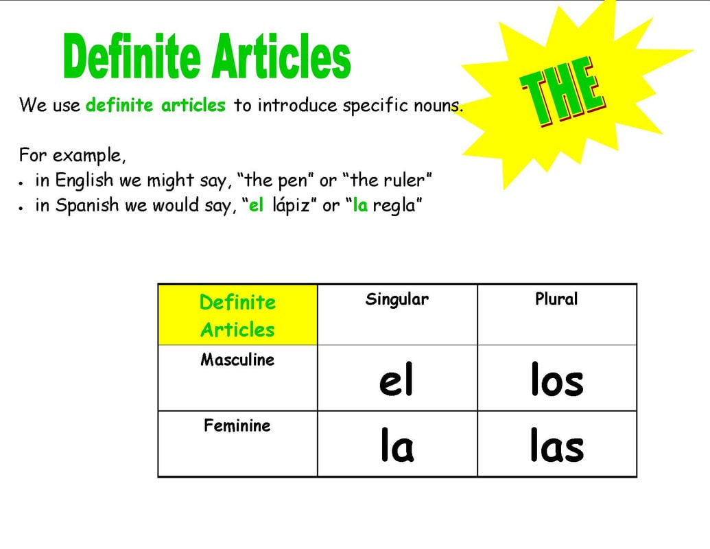 Definite Articles In Spanish Examples