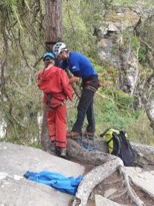 Another pupil gears up for another abseiling adventure.