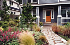 An all-natural, organic front yard landscape