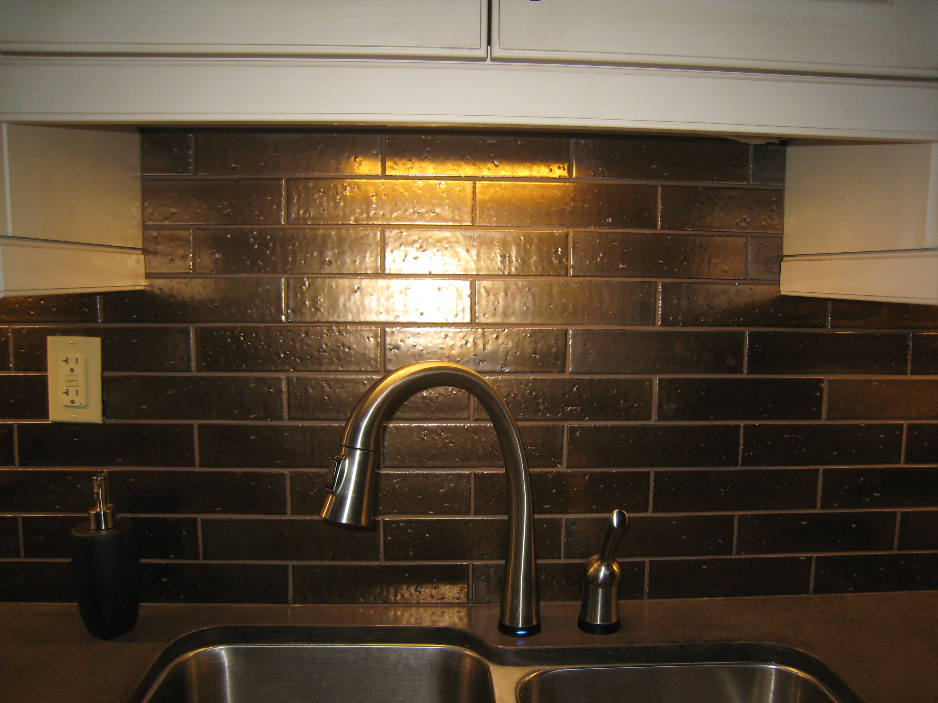 metallic kitchen wall tiles stainless steel soap dispenser love me some bronze bricks river city tile company