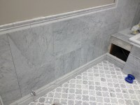Edmonton Tile Install  White Marble Bathroom