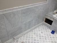 Edmonton Tile Install  White Marble Bathroom