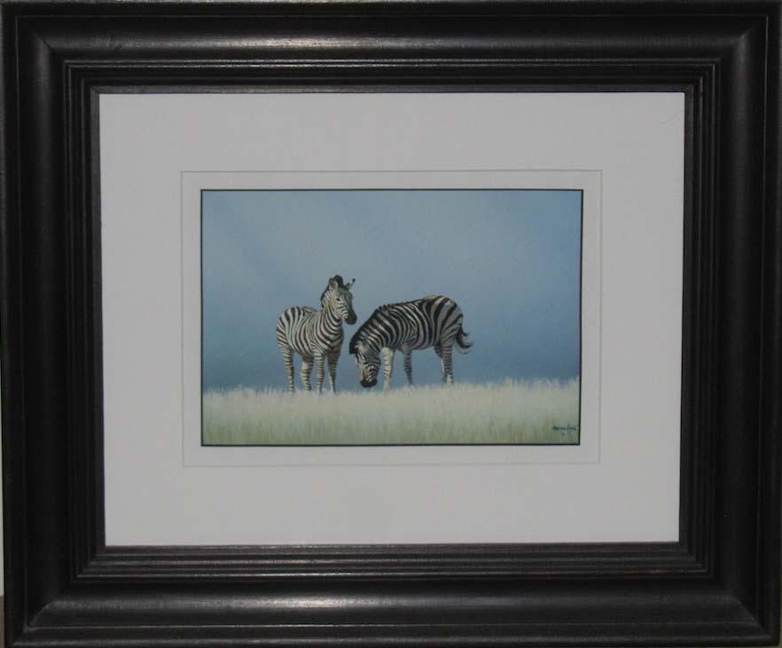 Zebras Grazing - Double Mount, Acrylic paint finish