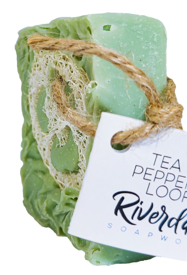 Side image of Tea Tree Peppermint Loofah Soap Scrub