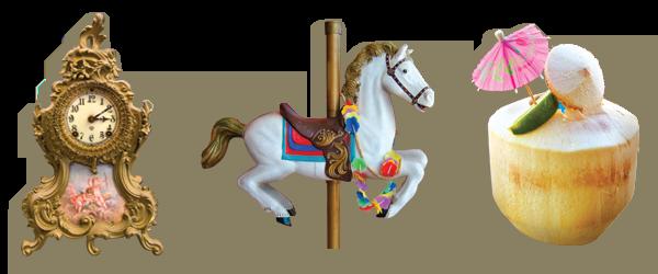 Clock Horse Umbrella Drink