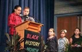 Roanoke Avenue fourth graders gave a game show-style presentation of famous black musicians. <em>Photo: Katie Blasl</em>