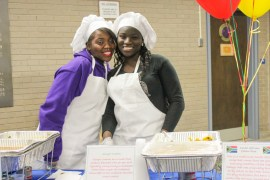 The high school cooking club also prepared and served South African cuisine in the lobby. <em>Photo: Katie Blasl</em>