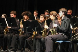 "Riverhead High School Jazz Ensemble performed an arrangement of ""When the Saints go Marching In,"" directed by Jason Rottkamp. <em>Photo: Katie Blasl</em>"