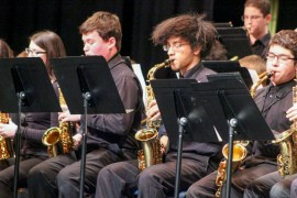 "Riverhead High School Jazz Ensemble performed an arrangement of ""When the Saints go Marching In,"" directed by Jason Rottkamp. <em>Photo: Katie Blasl</em>"