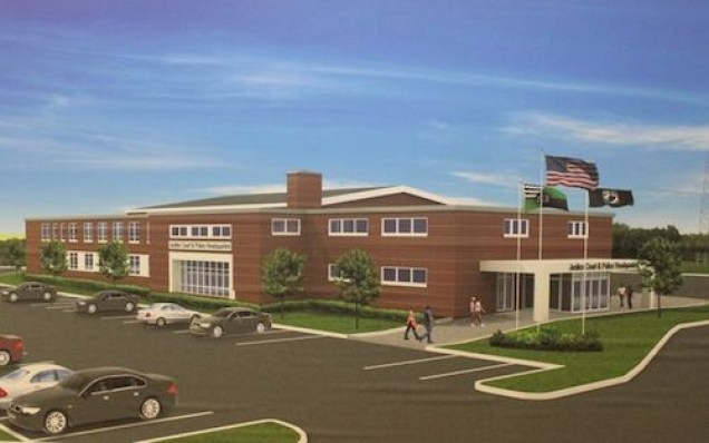 Architect's rendering of the armory building after renovation for use as a justice court-police complex.