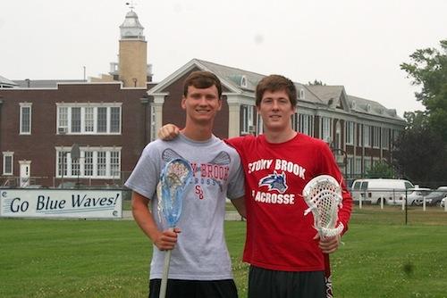 RHS alumni Dan Czelatka, left, and Ryan Bitzer will reunite on the Stony Brook Seawolves lacrosse team. (Photo: Michael Hejmej)