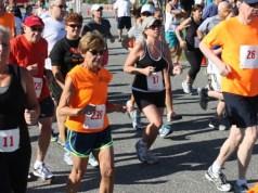 Eileen Benthal, far left, running in the Jamesport FD 5K last Sunday. (Photo: Denise Civiletti)