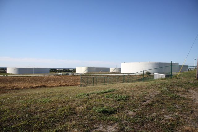 Petroleum storage tanks at the United Riverhead Facility this morning. (Photo: Peter Blasl)