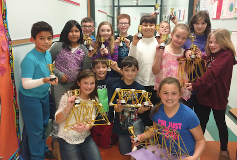 A special feature of this year's PARP experience was a competition in bridge building in the fourth grade classrooms.