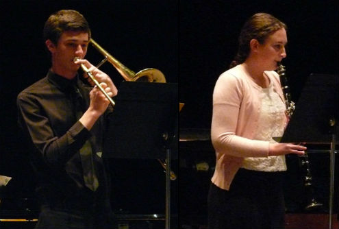 RHS musicians Shannon McAlister and Peter Cook, who were among nine Riverhead students to perform at the New York State Band Directors Association Symposium in Liverpool, New York, gave performances at Tuesday's school board meeting. Both were accompanied by guest pianist Dan Grable. Photos: Dawn Bozuhoski