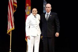 Lieutenant Colonel Peter McCarthy swore in his former student as her commissioning ceremony last weekend. Courtesy Photo