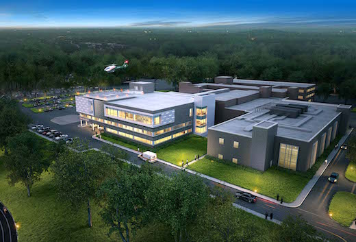 Rendering of Peconic Bay Medical Center after completion of planned critical care tower.