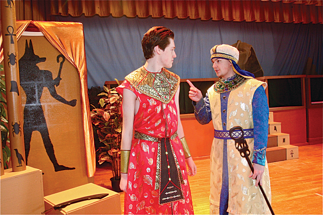 Patrick O'Brien of Riverhead as Radames (left)), general of the Egyptian army, and Ian Byrne of Baiting Hollow as Zoser, his father, in a scene called 'like father like son.' (Credit: Barbaraellen Koch)