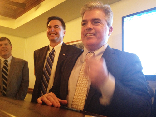 GIANNA VOLPE PHOTO | County Executive Steve Bellone (right) said with his landslide victor Al Krupski is the most popular elected official in county government.