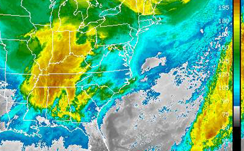 COURTESY SATELLITE PHOTO | This National Weather Service map shows Saturday's quick-moving storm churning over Kentucky.