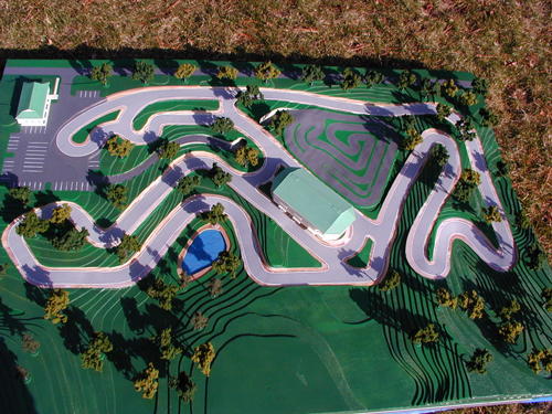 A model of the planned F1 go-kart facility as it appears on the company's website.