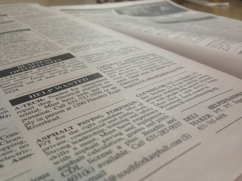 Looking for work? Check out the Times/Review classified section.