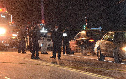 Police investigate the scene of the fatal accident Jan. 13. (Credit: AJ Ryan/Stringer News)
