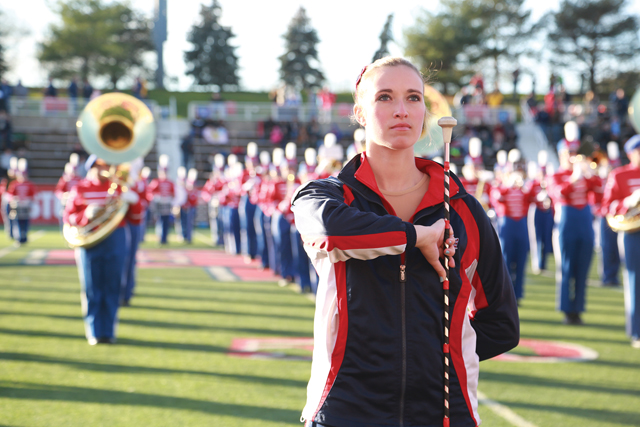 Kaylyn Ahrenstein performs with the marching band earlier this month. (Credit: Krysten Massa)