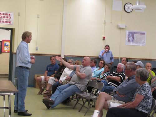 Kurt Van de Wetering speaks to residents at the Greater Calverton Civic Association Wednesday