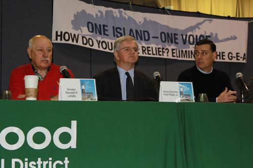 From left, state Senator Ken LaValle, Assemblyman Fred Thiele and Assemblyman Anthony Palumbo at Saturday's Longwood Legislative Breakfast in Middle Island. (Jennifer Gustavson photo)
