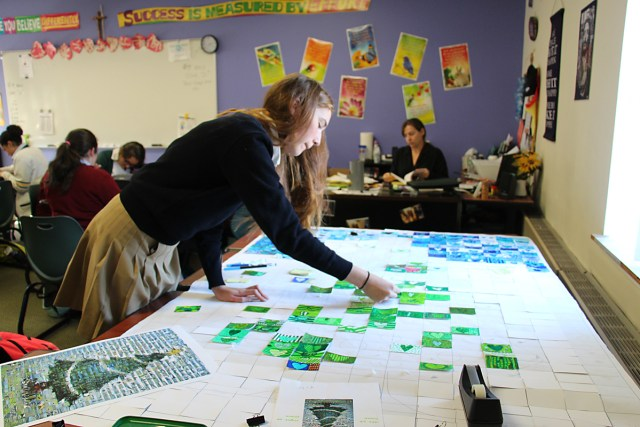 Maddie Joinnides, a sophomore at McGann-Mercy, lays out the main design for their Christmas card. (Credit: McGann-Mercy courtesy photo).