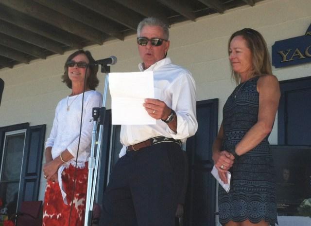 Howard Meinke's three children (L-R) Nancy Morrell, Jeffrey Meinke and Janice Dunbar all spoke at a memorial last week. (Credit: Michael White)