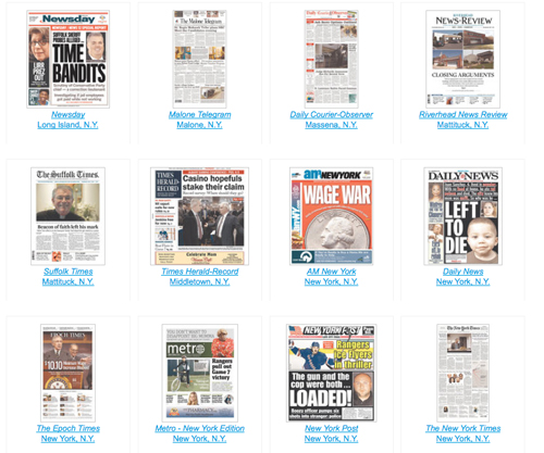 The News-Review and its sister papers The SUffolk Times and Shelter Island Reporter became the first weeklies invited to participate in the Newseum's online display of front pages. (Credit: Newseum)