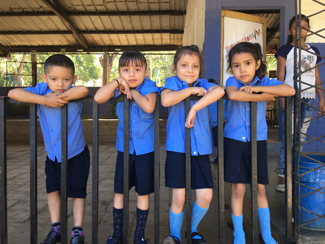 Students from the village of Jacuapa at their school. PBMC staff distributed dental goody-bags and toys to the children. (Credit: Laura Kelly)