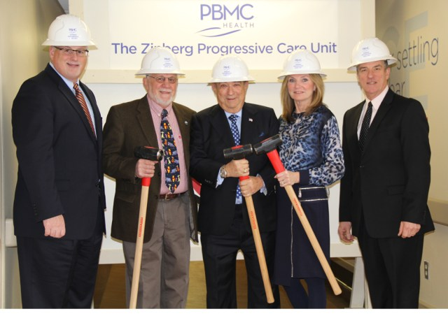 Andrew Mitchell, hospital CEO and president, project donor Robert Lorelli, lead donors Stan and Peggy Zinberg and PBMC Foundation chair Gordon Huszagh. (Credit: Carrie Miller)