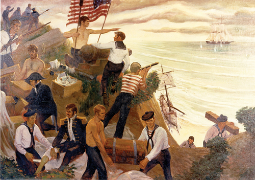 A modern painting depicting the October 1814 military engagement off Northville. (Credit: U.S. Coast Guard Academy Collection)