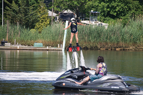 The town adopted regulations for flyboarding (pictured) at a meeting on March 18. (Credit: Paul Squire)