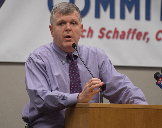 Suffolk County Democratic Chairman Rich Schaffer at his party's gala Tuesday. (Credit: Robert O'Rourk)