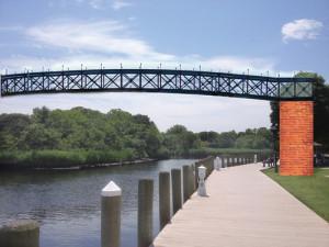 Riverside foot bridge to Riverhead