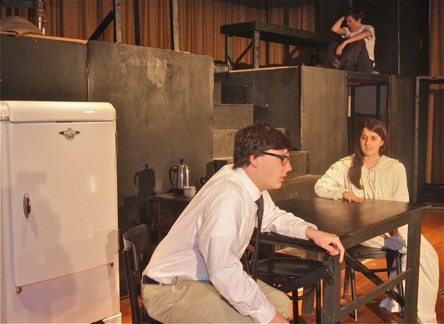 Danielle Allen of Riverhead as Linda and Ian Byrne of Baiting Hollow as Willy Loman her husband, son Patrick O'Brien of Riverhead as Biff (above). (Barbaraellen Koch photo)