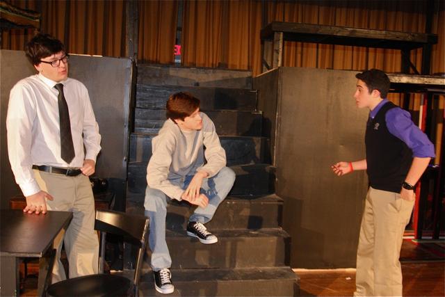 Ian Byrne of Baiting Hollow as Willy Loman, Patrick O'Brien of Riverhead as Biff and Johnny Tumminello of Jamesport as Bernard. (Barbaraellen Koch photo)