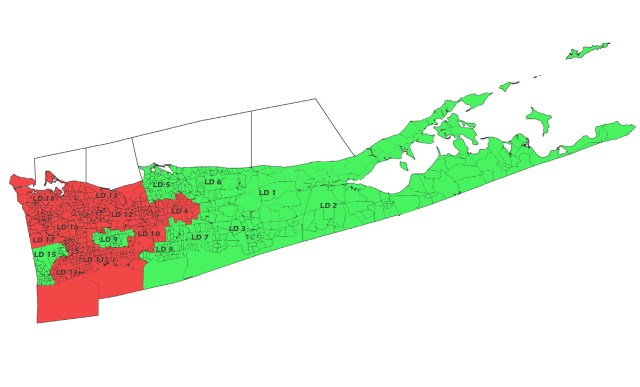 The red districts voted against holding more meetings further east, while the green areas voted for it. (Credit: Paul Squire,  Suffolk County district map)