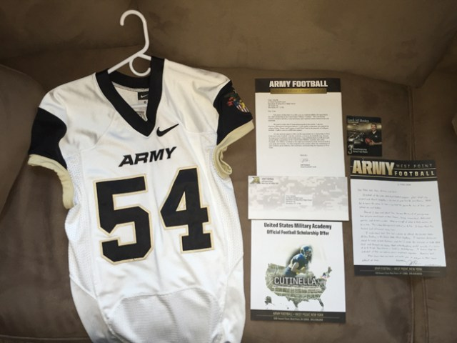 West Point football coach Jeff Monken helped arrange for the Cutinella family to receive a jersey and scholarship offer for Tom Cutinella. (Credit: courtesy photo)