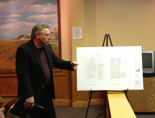 PAUL SQUIRE PHOTO | Architect Martin Sendlewski presents the plans for the Woolworth building at the Riverhead IDA meeting Monday evening.