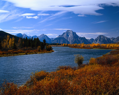A view of a river and mountain in Wyoming. (Credit: Microsoft Images)