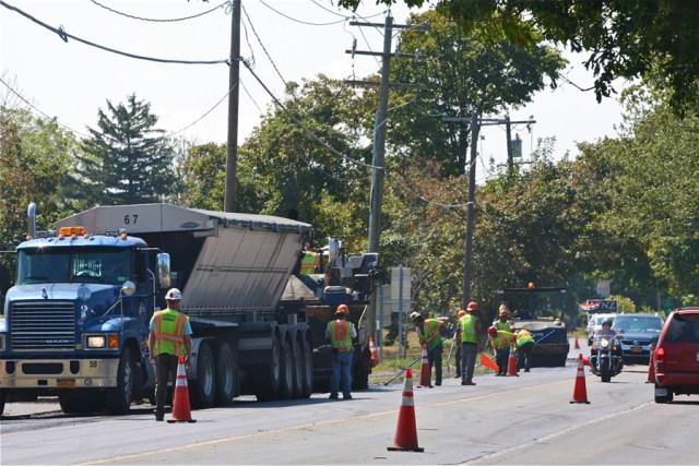 Paving work along Main Road in Cutchogue Friday. (Credit: Barbaraellen Koch)