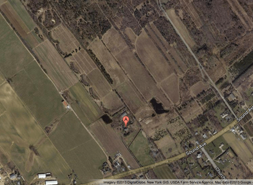 GOOGLE MAP | Farmland and woods stretch north of 5176 Sound Avenue in Northville.