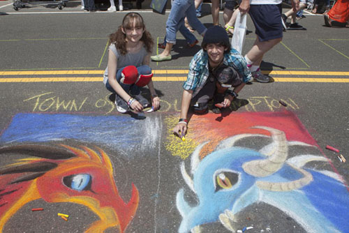 Christina Lettick, 16, of Port Jefferson works on 'Fire and Ice' with friend Kurt Librandi, 16, also of Port Jefferson. (Credit: Katharine Schroeder)